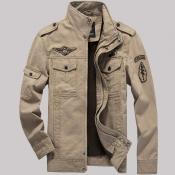 Lovely Trendy Zipper Design Khaki Jacket