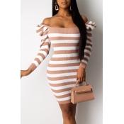 Lovely Sweet Striped White Mini Dress