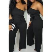 Lovely Work One Shoulder Black One-piece Jumpsuit