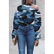 Lovely Casual O Neck Blue Sweatshirt Hoodie