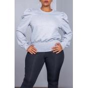 Lovely Casual Ruffle Design Light Grey Sweatshirt