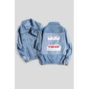 Lovely Casual Patchwork Baby Blue Cowboy Wear