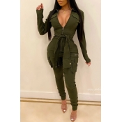 Lovely Leisure Knot Design Army Green One-piece Ju