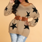 Lovely Casual O Neck Star Brown Sweater(Without Be