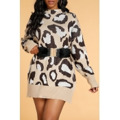 Lovely Casual O Neck Leopard Khaki Sweater(Without