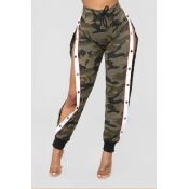 Lovely Casual Buttons Camo Pants