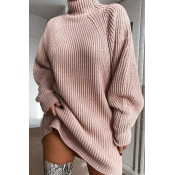 Lovely Casual Turtleneck Pink Mini Dress