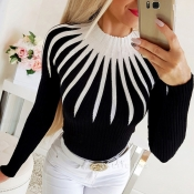 Lovely Chic Patchwork Black Sweater