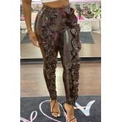 Lovely Trendy Flounce Design Coffee Pants