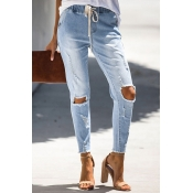 Lovely Casual Drawstring Sky Blue Jeans