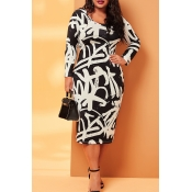 Lovely Casual V Neck Printed Black Mid Calf Plus S