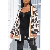Lovely Casual Leopard Patchwork Cardigan