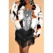 Lovely Stylish Patchwork Multicolor Faux Fur Coat