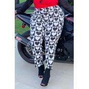 Lovely Casual Print Basic Black Plus Size Pants