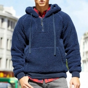 Lovely Casual Hooded Collar Blue Winter Hoodie