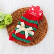 Lovely Christmas Day Striped Red Socks