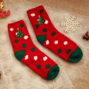 Lovely Christmas Day Patchwork Red Socks