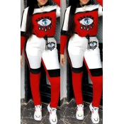 Lovely Casual Eye Patchwork Red Two-piece Pants Set
