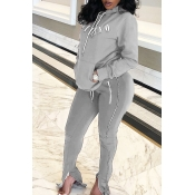 Lovely Casual Letter Zipper Design Grey Two-piece Pants Set