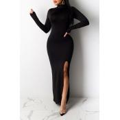 Lovely Chic Turtleneck Skinny Black Maxi Dress