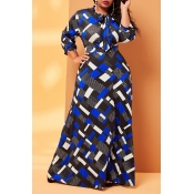 Lovely Casual Print Blue Ankle Length Plus Size Dr