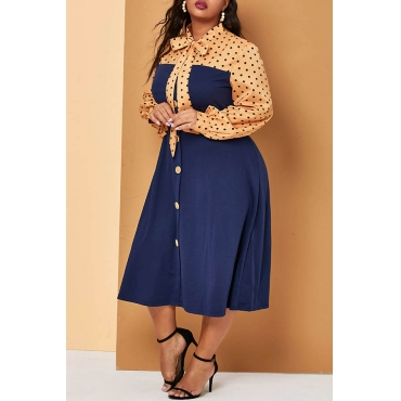 Lovely Casual Patchwork Printed Deep Blue Mid Calf Plus Size Dress