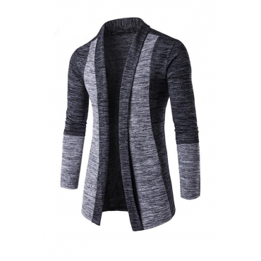 Lovely Casual Patchwork Dark Grey Sweater