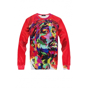 Lovely Casual Printed Red Hoodie