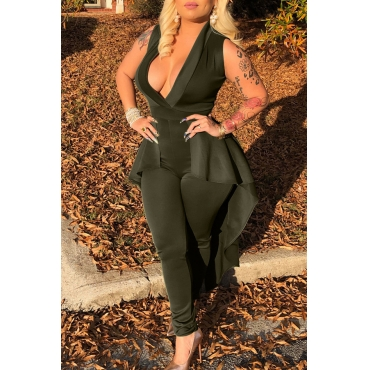 Lovely Trendy Deep V Neck Flounce Design Army Green One-piece Jumpsuit