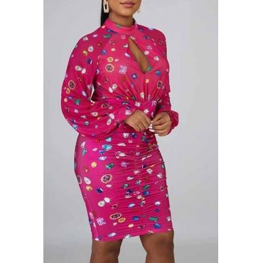 Lovely Sweet O Neck Printed Light Pink Knee Length Dress