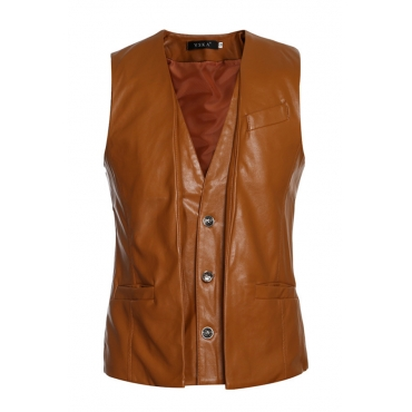 Lovely Casual Sleeveless Brown Leather