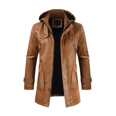 Lovely Casual Hooded Collar Brown Leather