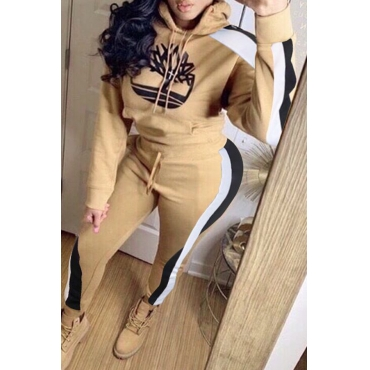 Lovely Casual Hooded Collar Printed Khaki Two-piece Pants Set