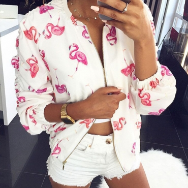 Lovely Casual Printed White Coat