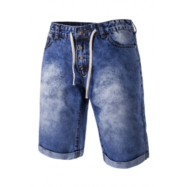 Lovely Casual Make Old Baby Blue Shorts