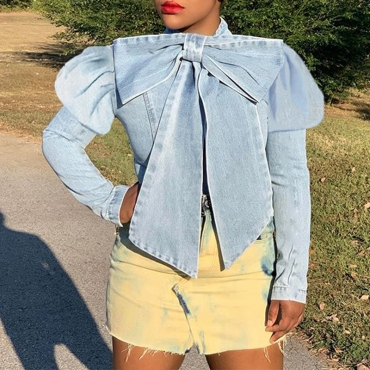 Lovely Casual Bow-Tie Baby Blue Shirt