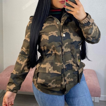 Lovely Chic Camouflage Printed Army Green Coat