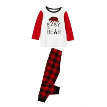 Lovely Family Plaid Printed Red Kids Two-piece Pants Set