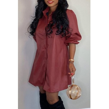 Lovely Casual Turndown Collar Wine Red Mini Dress