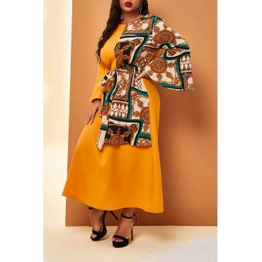 Lovely Casual Patchwork Yellow Mid Calf Plus Size Dress