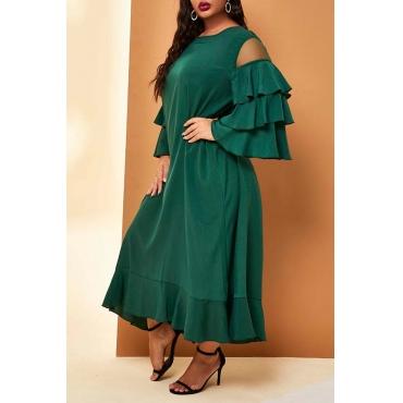 Lovely Casual Flounce Patchwork Green Ankle Length Plus Size Dress,XL XXL XXXL XXXXL