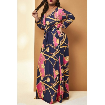 Lovely Casual V Neck Printed Rose Red Floor Length Plus Size Dress