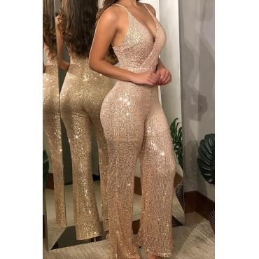 Lovely Chic V Neck Loose Champagne One-piece Jumpsuit