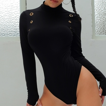 Lovely Casual Skinny Black Bodysuit