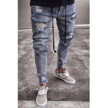 Lovely Casual Broken Holes Zipper Design Blue Jeans