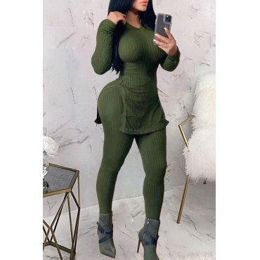Lovely Casual V Neck Basic Green Two-piece Pants Set