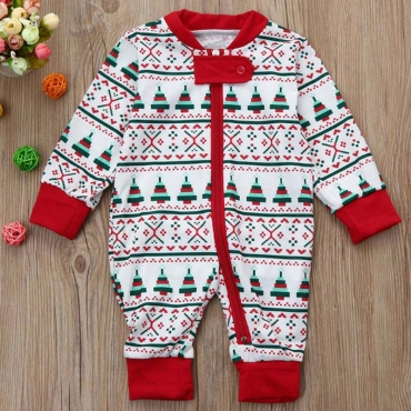 Lovely Family  Printed White Baby One-piece Jumpsuit