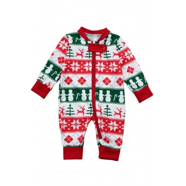 Lovely Family Printed Red Boys One-piece Jumpsuit