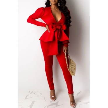 Lovely Trendy Basic Lace-up Red Two-piece Pants Set