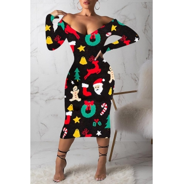 Lovely Casual Printed Black Mid Calf Dress